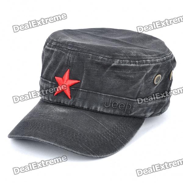 Worn Look Flat Top Red Star Hat - Black brushed cotton twill ivy hat flat cap by decky brown