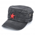 Worn Look Flat Top Red Star Hat - Black