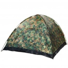 Portable Three-Person Camping Tent with Carrying Bag - Camouflage Green