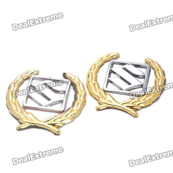Decorative Suzuki Logo Badge Emblem Car Side Mark Sticker - Silver + Gold (2 Piece Pack)