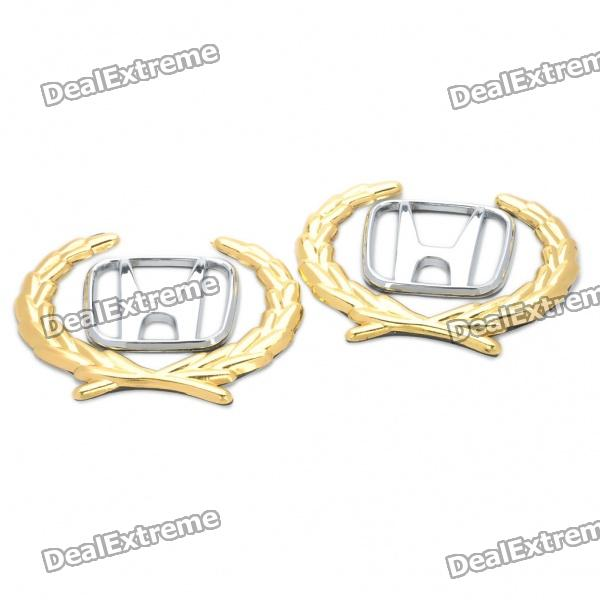 Dekorative Honda Logo Badge Emblem Car Side Mark Sticker - Silber + Gold (2 Stück Pack)