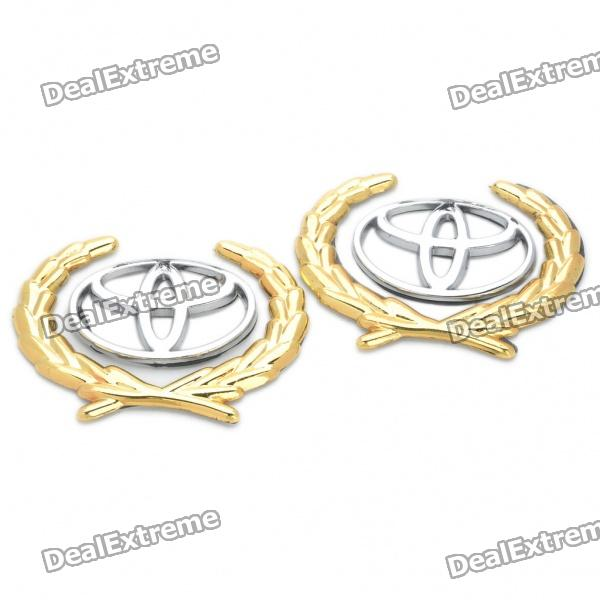 Dekorative Toyota Logo Badge Emblem Car Side Mark Sticker - Silber + Gold (2 Stück Pack)