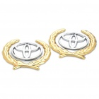 Decorative Toyota Logo Badge Emblem Car Side Mark Sticker - Silver + Gold (2 Piece Pack)
