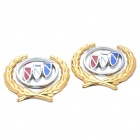 Decorative Buick Logo Badge Emblem Car Side Mark Sticker - Silver + Red + Blue + Gold (2 Piece Pack)