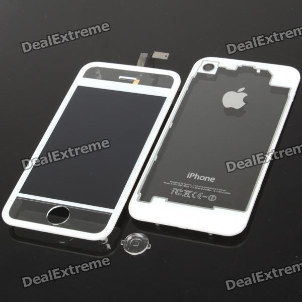Replacement LCD Touch Screen Digitizer w/ Back Cover Set for iPhone 4 - White