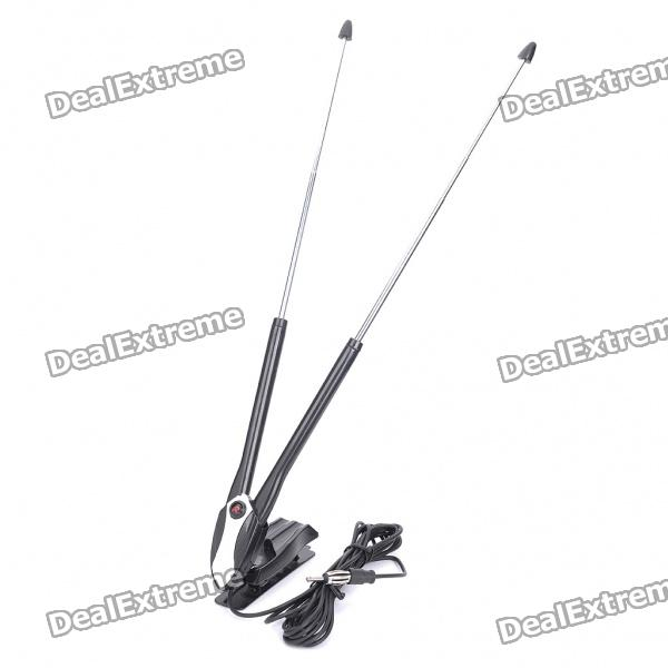 Universal Car Antenna with Amplifier TV Receiver - Black