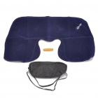 3-in-1 Inflatable Pillow + Sleeping Eyeshade + Earplug Travel Set - Deep Blue + Black + Orange