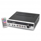1.8 LED Car/Home Digital Audio Amplifier w/ karaoke/FM/USB/SD - Silver + Black