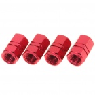 M12(12mm) Zinc Alloy Car Tire Valve Caps - Red (4-Pack)