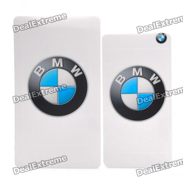 Protective BMW Logo Back Skin Sticker for Galaxy S2 i9100 - White + Black + Blue