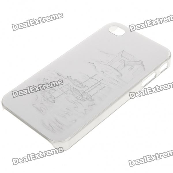 Protective Plastic Back Case for iPhone 4 - Silver (Random Chinese Landscape Pattern)