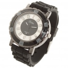 Fashion Water Resistant PU Rubber Band Stainless Steel Wrist Watch (1 x 377)