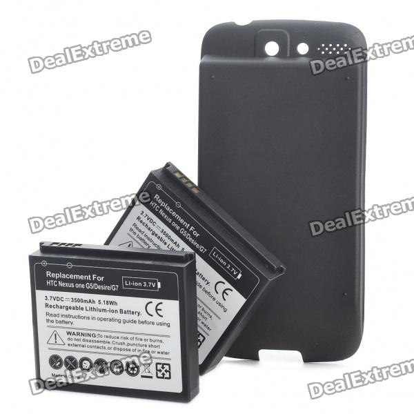 Replacement 2 x 3.7V 3500mAh Extended Battery Pack with Back Case for HTC Desire/G7