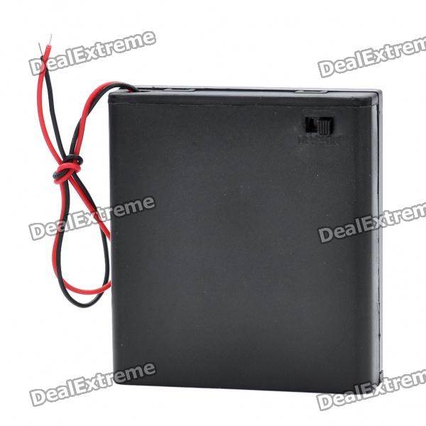 6V 4*AA Battery Holder Case Box with Leads - Black