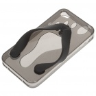 Flip-Flop Style Protective TPU Case for iPhone 4 - Translucent Grey