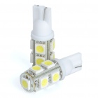 T10 0.7W 6500K 58LM 9xSMD LED White Light Bulbs for Car (Pair/12V)