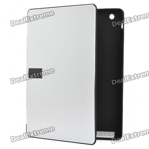 Stylish Protective Aluminum Alloy Cover Plastic Inner Full Case for Ipad 2 - Silver