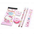 Cute Hello Kitty Pencils + Ruler + Eraser + Pencil Sharpener + Stickers + Pouch Stationary Set