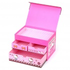 Cute Hardboard Hello Kitty 3-Layer Jewelry Storage Organizer Box Case - Pink