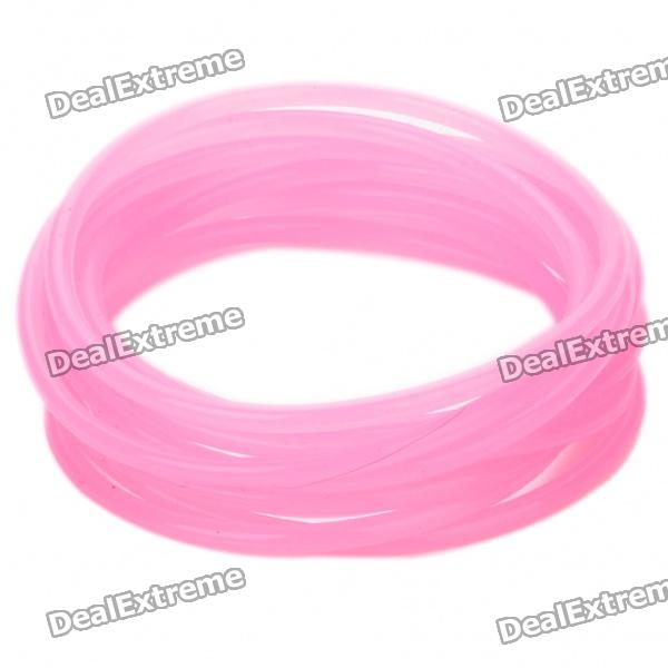 Glow-in-the-Dark Soft Silicone Bracelet Wrist Band - Pink (10 Piece Pack)