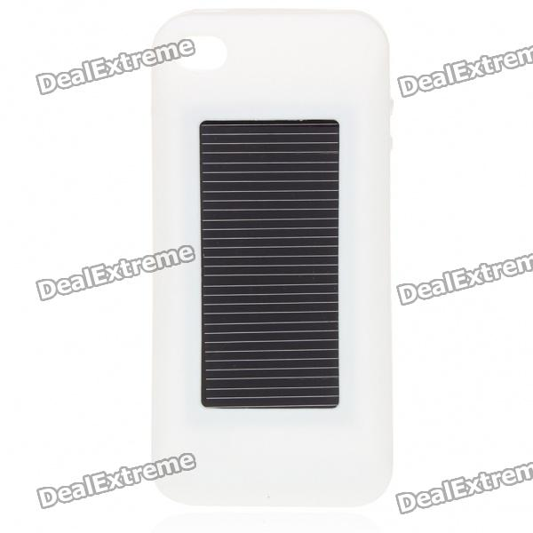 1500mAh USB/Solar Rechargeable External Battery with Silicone Case for iPhone - White