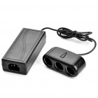 3-Socket Car Cigarette Power Splitter with Adapter & 3-Flat-Pin Plug Power Cable - Black (120W)