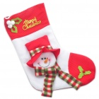 Snowman Style Christmas Stocking Ornament - Red + White