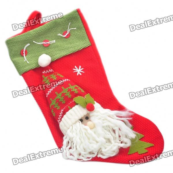 Santa Claus Stil Christmas Stocking Ornament - Rot + Grün + Weiß