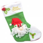 Santa Claus Stil Christmas Stocking Ornament - Green + Red + White