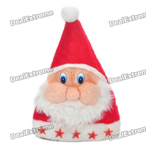 Unique Santa Claus Style Christmas Hat with Red Star Ornaments & Red Light (2 x AA)