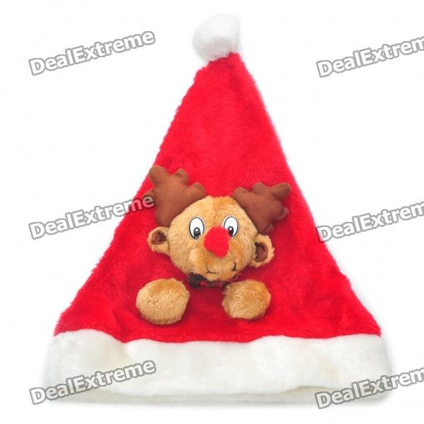 Einzigartige Deer Ornament Plush Christmas Hat - Red