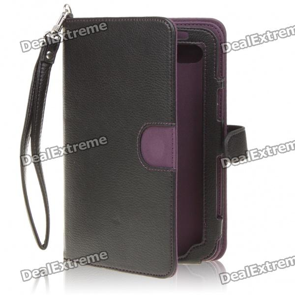 Protective 360 Degree Rotation Holder PU Leather Case for Samsung P1000 - Black + Purple levett caesar prostate massager for 360 degree rotation g spot