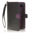 Protective 360 Degree Rotation Holder PU Leather Case for Samsung P1000 - Black + Purple