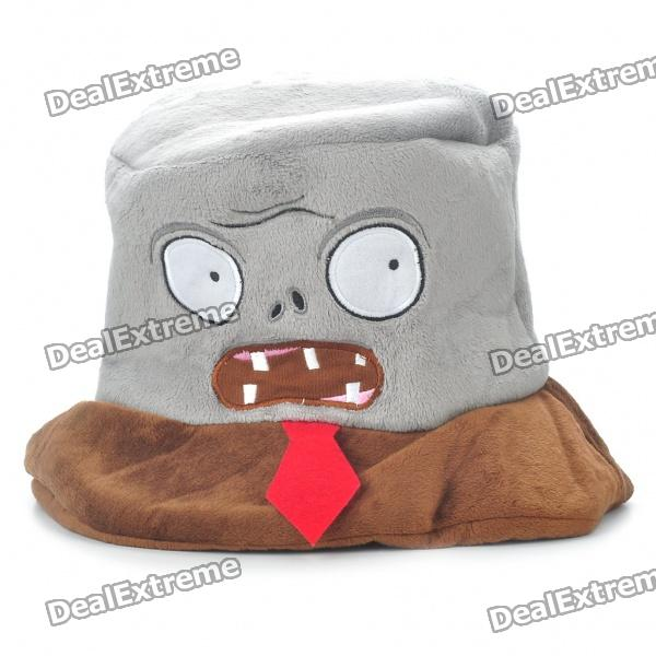 Plants Vs Zombies Plush Zombies Style Cosplay Cap Hat - Brown + Grey
