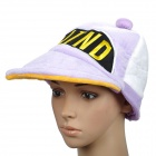 "Cute ""WIND"" Short Plush Fabric Hat/Cap - Purple + White"