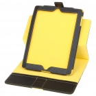 Protective 360 Degree Rotation Holder PU Leather Case for Ipad 2 - Black + Yellow