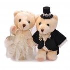 Cute Wedding Teddy Bears Couple Toys Dolls - Light Yellow