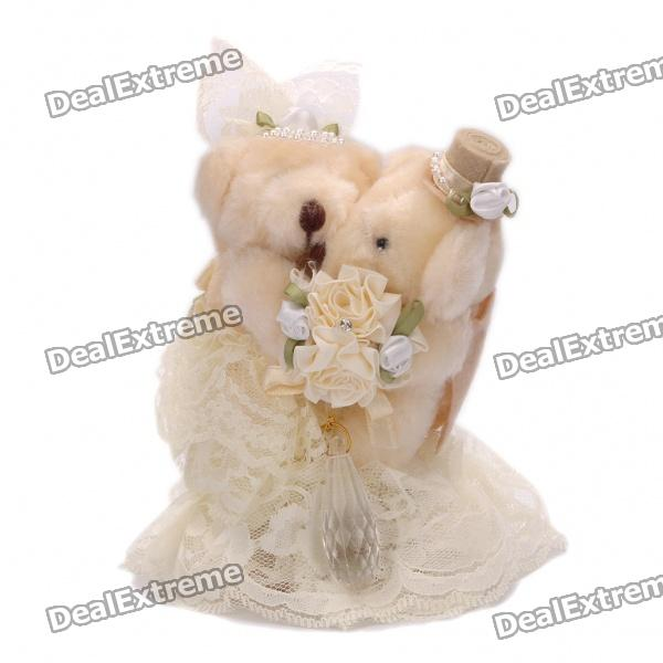 Фото Cute Wedding Teddy Bears Couple Toy Doll Ring Box - Light Yellow