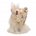 Cute Wedding Teddy Bears Couple Toy Doll Ring Box - Light Yellow