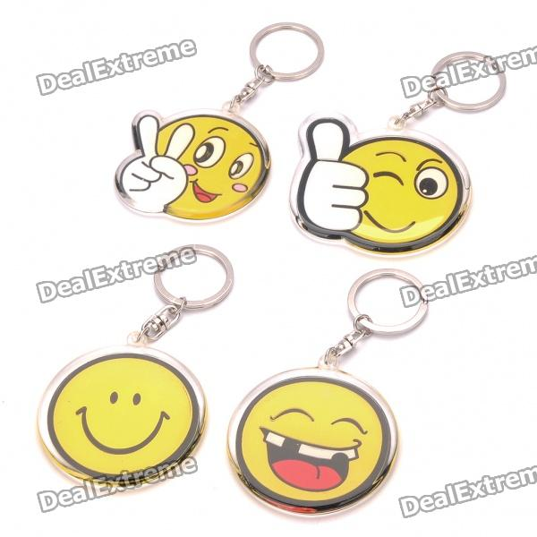 Acrylic Round Smile Expression Face Keychains - Yellow (4-Pack) cute smile face expression round erasers yellow 4 piece random style