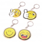 Acrylic Round Smile Expression Face Keychains - Yellow (4-Pack)