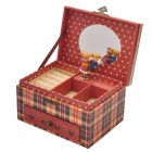 Cute Wedding Teddy Bear Music Jewelry Box - Brown + Black