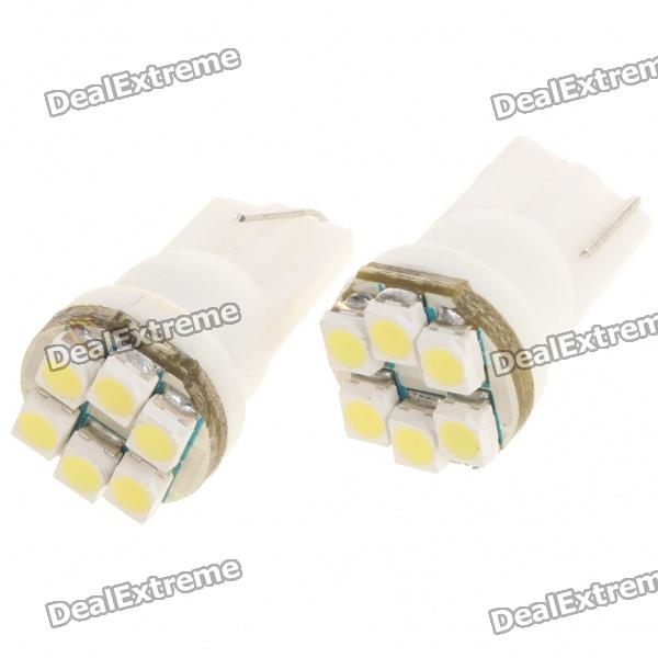 T10 0.3W 8000K 60LM 6x3528 LED White Light Bulbs for Car (Pair/12~14V) 2x led custom moving slim door sill scuff plate light car accessories for chevrolet stingray premiere edition 2014 2015 2016