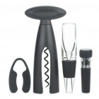Elegant Wine Corkscrew/Opener + Stopper + Wine Decanter + Foil Cutter Tools Set (4-Piece Pack)