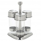 Compact Kitchen Spice Jar Bottle Set - Silver (Set of 3)