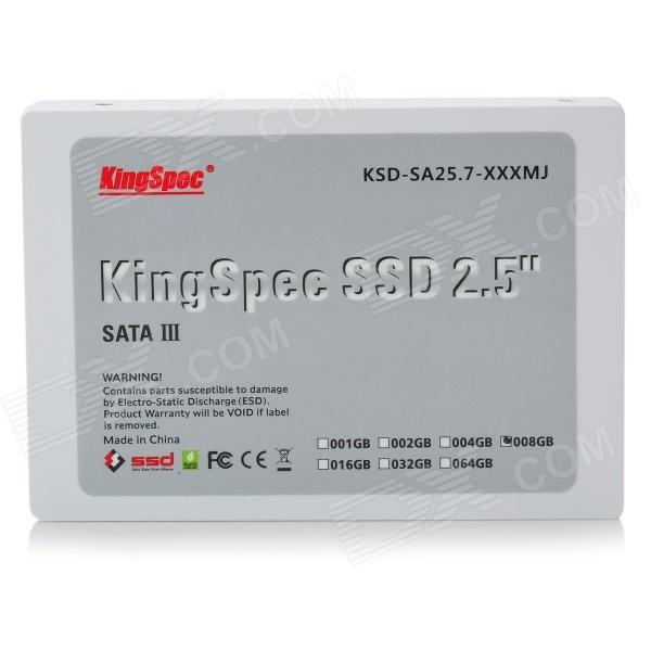 KingSpec 2.5 SATA II MLC-NAND Flash SSD/Solid State Drive (8GB) ssd for x222 00aj430 800 gb sata 2 5 mlc hs solid state drive 1 year warranty