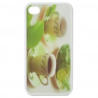 Protective Back Case with 3D Graphic for iPhone 4 - Teacups Pattern