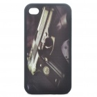 Protective Back Case with 3D Graphic for iPhone 4 - Pistol/Gun Pattern