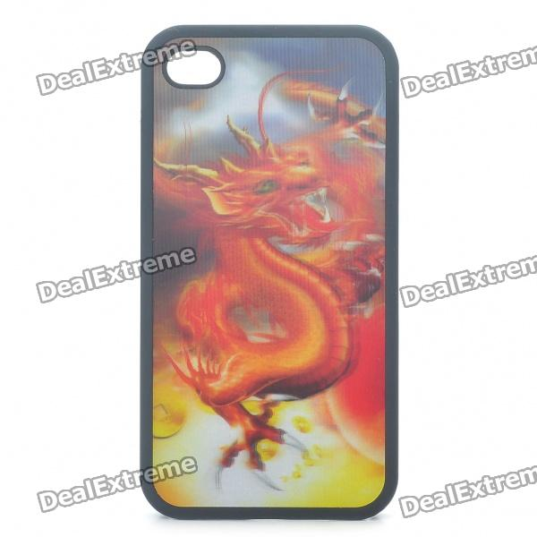 Protective Back Case with 3D Graphic for iPhone 4 - Dragon Pattern