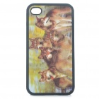 Protective Back Case with 3D Graphic for iPhone 4 - Wolf Packs Pattern